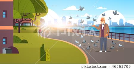 senior man feeding flock of pigeon modern city quay urban cityscape skyscrapers background 46363709
