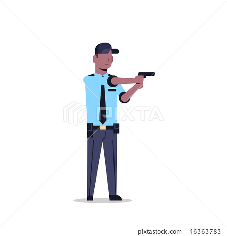 african american security guard man in uniform holding pistol police officer male cartoon character 46363783