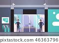 security guard men working at entrance door business building exterior CCTV surveillance camera 46363796