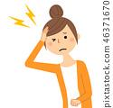 年轻的女士妈妈头痛 46371670