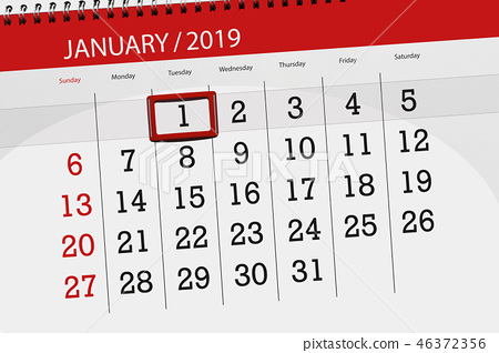 Calendar january 2019, deadline day, 1, tuesday 46372356