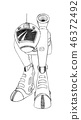 Black Pencil Concept Art Drawing of Sci-fi Future Robot or Walking military Tank 46372492