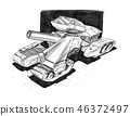 Black Ink Concept Art Drawing of Sci-fi Future Military Tank or Artillery Design 46372497