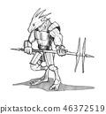 Ink Concept Art Drawing of Lizard Warrior in Armor 46372519