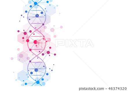 DNA strand and molecular structure. Genetic engineering or laboratory research. Background texture 46374320