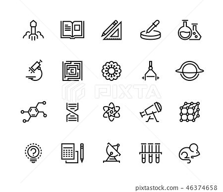 Science line icons. Laboratory equipment physics chemical biology research. University education 46374658