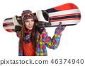 snowboarder, snowboard, white 46374940