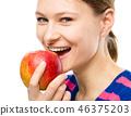 eating, biting, woman 46375203