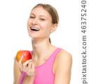 eating, woman, apple 46375240
