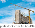 Construction site with crane and building.  46375494