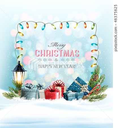Holiday Christmas background with presents 46375625