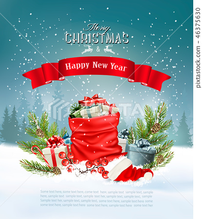 Christmas holiday background with a red sack  46375630