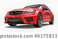 Super fast sports car color red metallic on a white background. Body shape sedan. Tuning is a 46375833