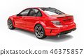 Super fast sports car color red metallic on a white background. Body shape sedan. Tuning is a 46375857