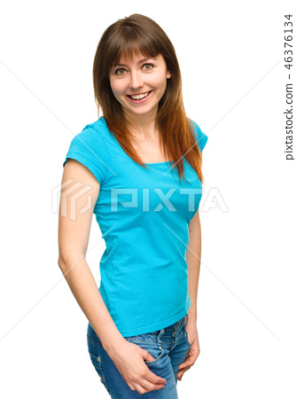 Portrait of a happy young woman 46376134