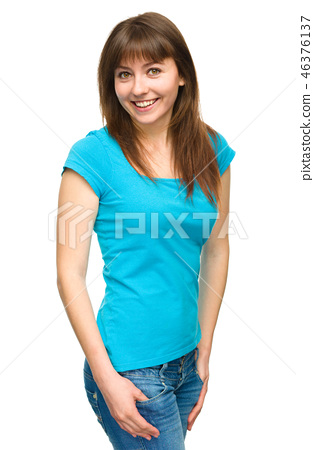 Portrait of a happy young woman 46376137
