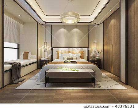beautiful luxury bedroom suite in hotel with tv 46376331