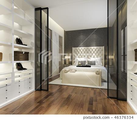 modern bedroom suite tv with wardrobe closet 46376334