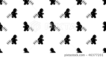 Bear seamless pattern vector travel bag traveller  46377201