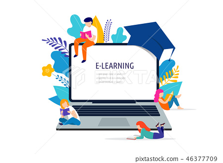E-learning concept illustration. Big laptop with a square academic cap 46377709