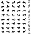 Black silhouettes of horses  46378248