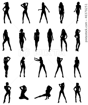 Black silhouettes of ballerinas 46378251