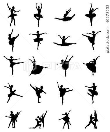 Black silhouettes of ballerinas  46378252