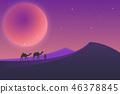 Desert landscape during the night 46378845