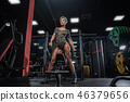 Sexy athletic girl workout in gym.  46379656