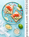 Toasts with feta cheese, tomatoes, avocado 46380036