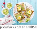 Toasts with avocado guacamole, fresh radish 46380059