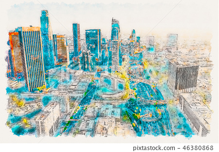 Aerial view of a Downtown LA at sunset 46380868