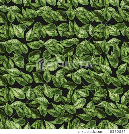Green leaves on the nature background. Vector green foliage seamless pattern.