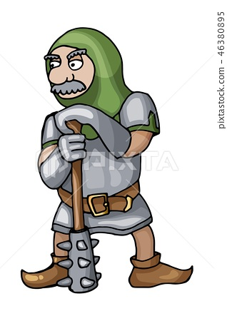 Cartoon medieval chain mail warrior with mace, isolated on white background 46380895