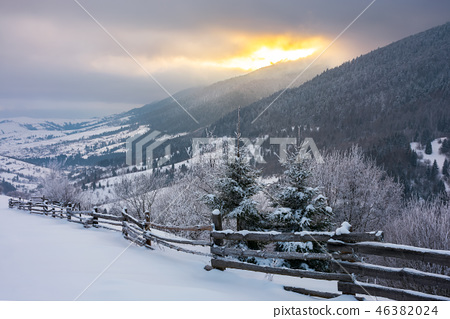wonderful snowy countryside in mountains 46382024