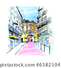 Pink street in Lisbon, Portugal 46382104