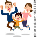 กระโดดพ่อแม่ของครอบครัวและเด็กลูกหนึ่งคนสามครอบครัวมีความสุข 46383489