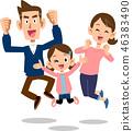 跳躍的家庭父母和孩子一個孩子三個家庭幸福 46383490