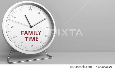 Clock face with revealing FAMILY TIME text. Conceptual 3D rendering 46385839