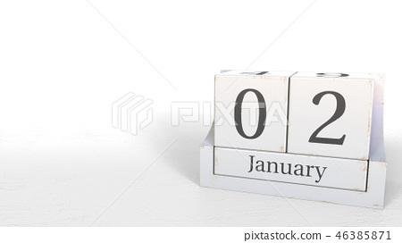 Wooden blocks calendar shows January 2 date, 3D rendering 46385871