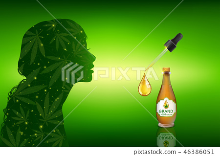 Marijuana plant and cannabis oil bottles vector. 46386051