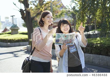 外國人和東京觀光淺草寺Kamimon 46386488