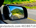 Landscape in the sideview mirror of a car 46386710