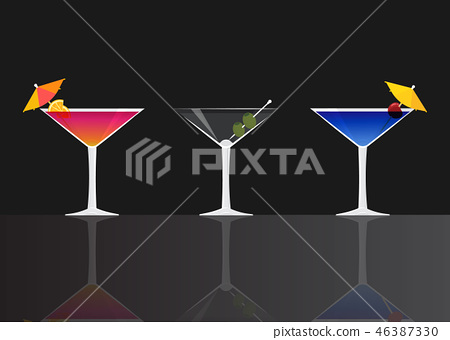 Manhattan Cocktail Dry Martini And Blue Lagoon Stock Illustration 46387330 Pixta