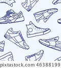 Seamless Pattern with Sneaker Shoe Line Stroke 46388199