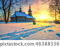 Russian church in winter forest 46388336