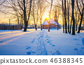 Russian church in winter forest 46388345