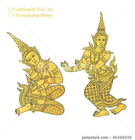 Traditional Thai Art in Ramayana Story, vector - ภาพประกอบส