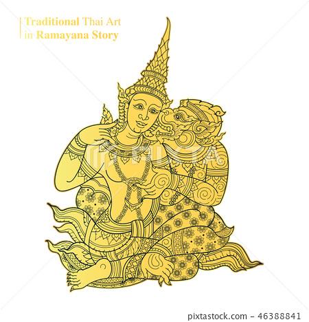 Traditional Thai Art in Ramayana Story, vector - Stock