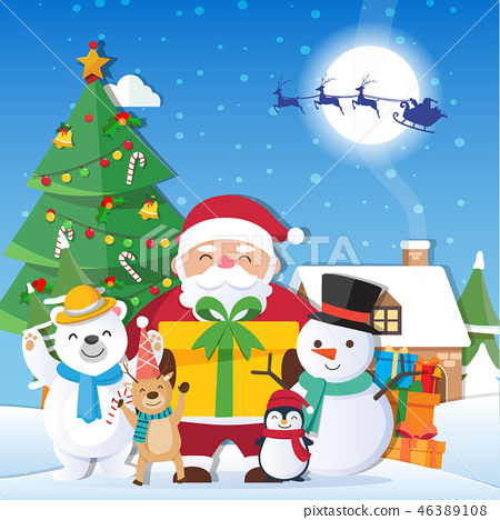 Christmas background with Santa Claus 46389108